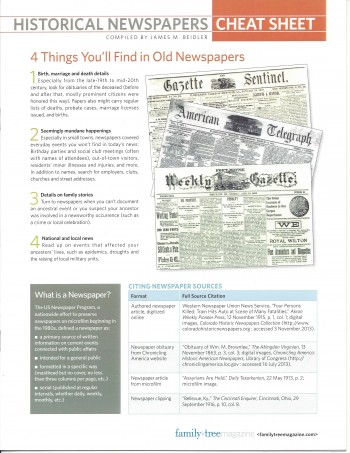 Historical Newspapers Cheat sheet